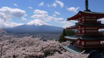 新倉浅間神社五重塔と富士山